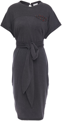Brunello Cucinelli Belted Bead-embellished Melange Cotton-jersey Dress