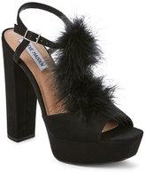 Steve Madden Black Tricia Feather Platform Block Heel Sandals