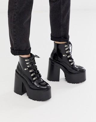 Jeffrey Campbell Fernrock Extreme chunky Heel Boot-Black