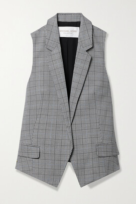 Michael Kors Collection - Antibes Checked Wool Vest - Gray