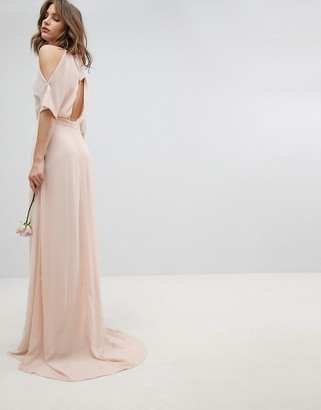 TFNC High Neck Maxi Bridesmaid Dress With Fishtail-Pink