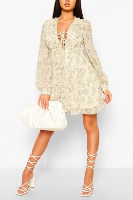 boohoo Floral Print Ruffle Swing Dress