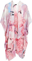 Lvs Collections LVS Collections Women's Kimono Cardigans RED - Red Floral Cape-Sleeve Kimono - Women