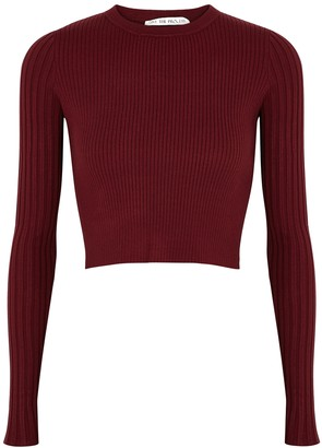 Live The Process Burgundy Cut-out Ribbed-knit Jumper
