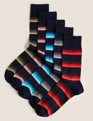 Marks and Spencer 5 Pack Cool & Fresh Striped Socks