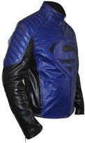 Classyak Men's Fashion Black and Blue Super Real Leather Jacket Medium