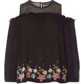 Dorothy Perkins Womens **Tall Mesh Embroidered Top- Black