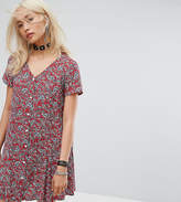 Reclaimed Vintage Inspired Festival Button Front Tea Dress In Floral