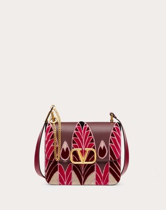 Valentino Vsling Grainy Calfskin Shoulder Bag With Feather Embroidery Women Rubin 100% Pelle Di Vitello - Bos Taurus OneSize