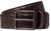 Bottega Veneta 3cm Brown Intrecciato Leather Belt - Brown