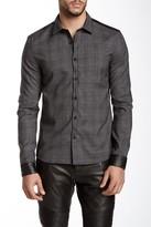 Rogue Plaid Genuine Leather Trim Long Sleeve Trim Fit Shirt