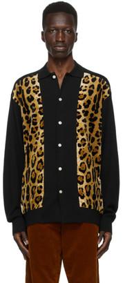Wacko Maria Black and Brown Leopard Polo Cardigan