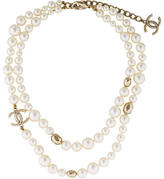 Chanel CC & Pearl Double Strand Necklace