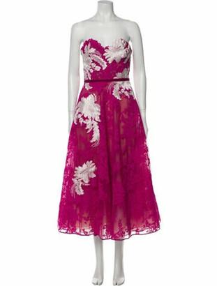 Marchesa Floral Print Midi Length Dress Pink