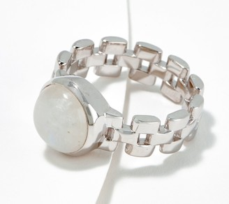Moonstone Sterling Silver Bezel Set Chain Link Ring