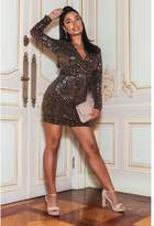 Quiz Sam Faiers Petite Black and Rose Gold Velvet Sequin Dress