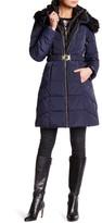 GUESS Long Down Faux Fur Trim Jacket