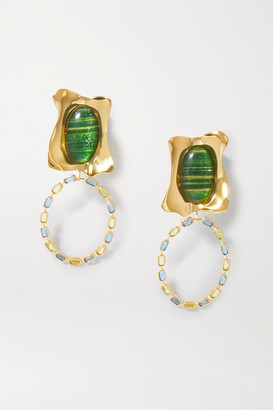 EJING ZHANG Rhode Gold-plated, Resin And Glass Earrings - Green