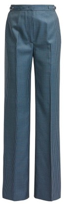 Gabriela Hearst Vesta Checked High Rise Wool Blend Trousers - Womens - Blue Multi