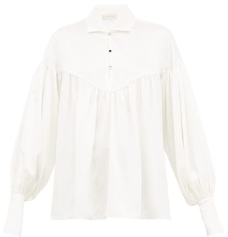 Lee Mathews - Mae Balloon-sleeve Silk-satin Blouse - Womens - Ivory