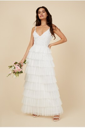 Little Mistress Fleur Nude Floral Sequin Tiered Hem Maxi Dress