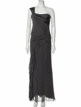 J. Mendel One-Shoulder Long Dress Grey