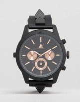 Asos Watch With Studded Strap In Black