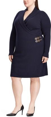 Chaps Plus Size Shawl-Collar Sweater Dress