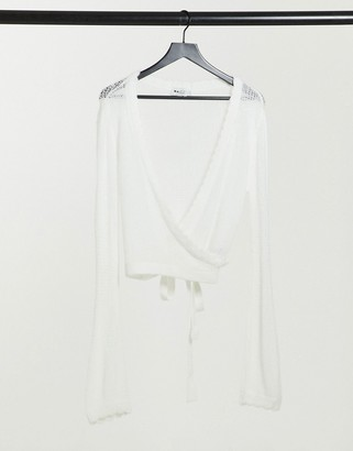 NA-KD rib detail wrap sweater in off white