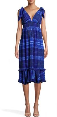 Nicole Miller Shibori Stripe Dress With Tie Shoulder