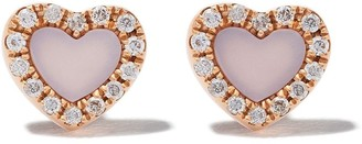 As 29 18kt rose gold Miami Heart mother of pearl and diamond stud earrings