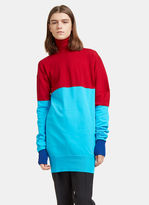 J.w. Anderson Men's Bi-colour Ribbed Knit Roll Neck Sweater In Red And Blue