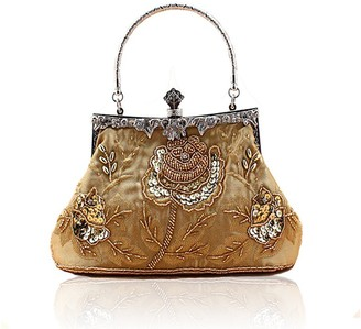 Sxon Women Vintage Handmade Beaded Sequinned Rose Evening Bag for Wedding Party (Gold)
