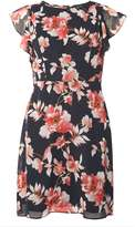 Dorothy Perkins Petite Blue Floral Ruffle Dress