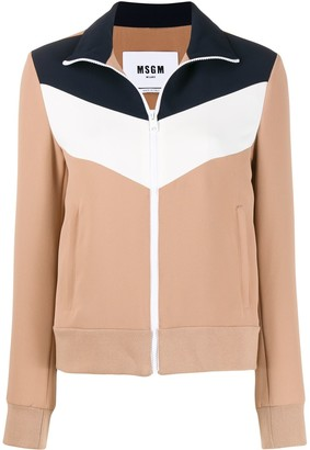 MSGM Panelled Zip-Up Jacket