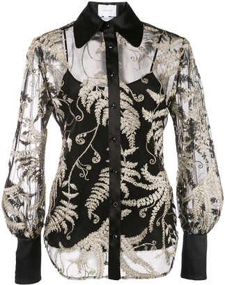 Marchesa Embroidered Organza Blouse