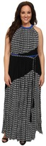 Adrianna Papell Plus Size Color Blocked Printed Maxi