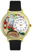 Whimsical Watches Taco Lover Black Leather and Goldtone Unisex Quartz Watch with White Dial Analogue Display and Multicolour Leather Strap G-0310015