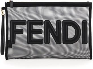 Fendi MICRO MESH LARGE POUCH SCRIPT OS Black Leather