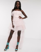 Dolly & Delicious tulle frilly off shoulder high low full prom maxi dress with removable train in pink