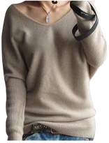 Pink Wind PinkWind Women's Pure Color V Neck Batwing Pullover Cashmere Sweater