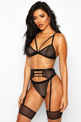 boohoo Mesh Strapping Bralette Thong and Suspender Set