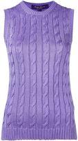 Ralph Lauren Purple cable knit crew neck tank top