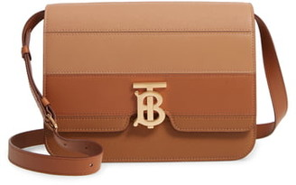 Burberry Medium TB Paneled Leather Crossbody Bag