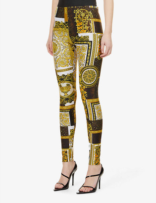 Versace Baroque-print skinny mid-rise stretch-woven leggings