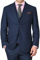 Blue Slim Fit Saxony Business Suit Wool Jacket Size 38 By Charles Tyrwhitt