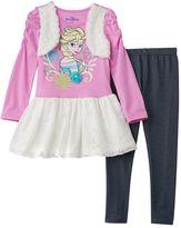Disney Disney's Frozen Elsa Girls 4-6x Faux-Fur Floral Lace Glitter Dress & Faux-Denim Knit Leggings Set
