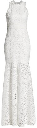 ML Monique Lhuillier Sheer Lace Slit Gown