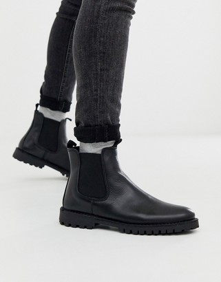 Selected chunky sole leather chelsea boots in black