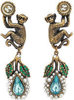 Gucci Monkey earrings with glass pearls and crystals